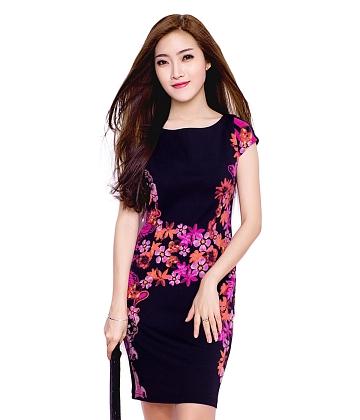 Đầm thun họa tiết Dahlia fashion