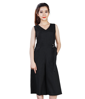 Jumpsuit cổ tim ống rộng KMODE