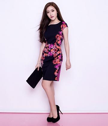 Đầm thun họa tiết Dahlia fashion - A1