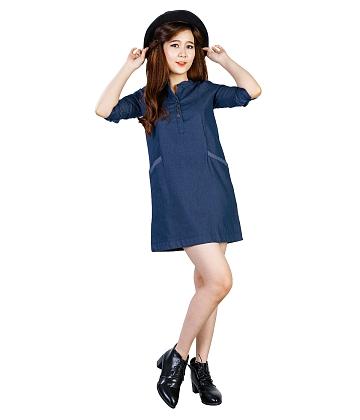 Đầm suông denim phối túi dễ thương - A3