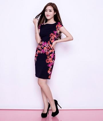Đầm thun họa tiết Dahlia fashion - A2