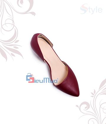 Giày cao gót bít mũi xéo da xi - A1