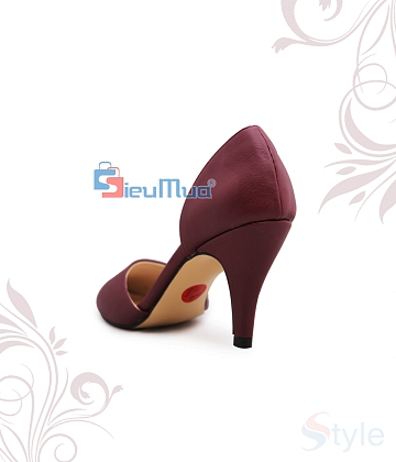 Giày cao gót bít mũi xéo da xi - A3