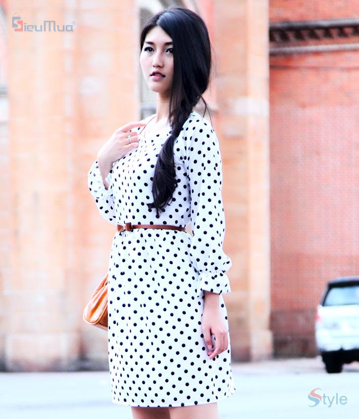 Đầm xòe chấm bi tay dài - 2